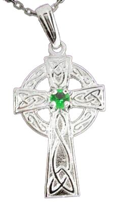 Silver Celtic Cross with Real Emerald