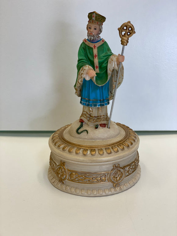 St. Patrick statue with rosary holder 6""