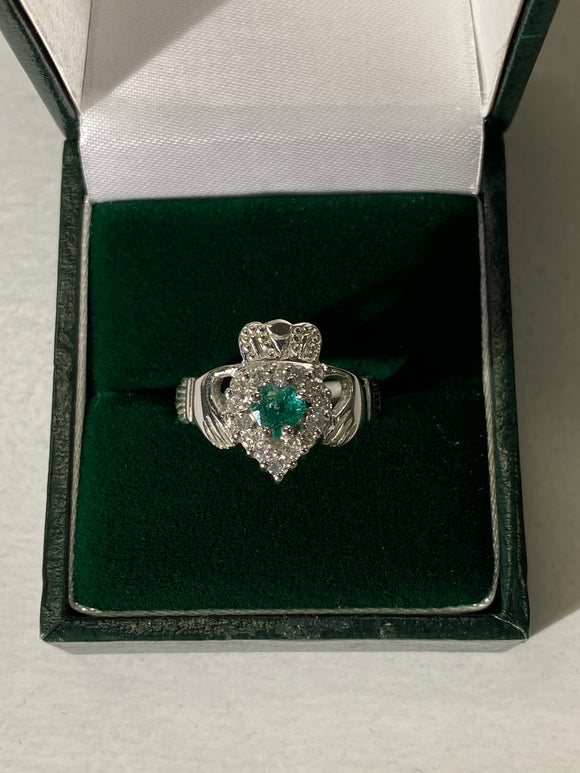 14k white gold with real emerald G326W