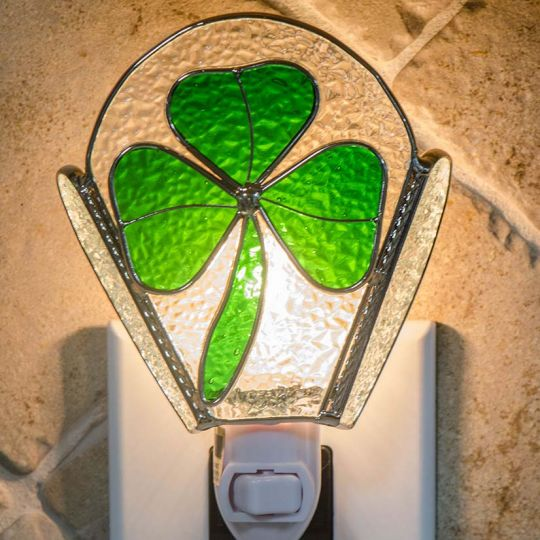 Shamrock Stained Glass Night Light