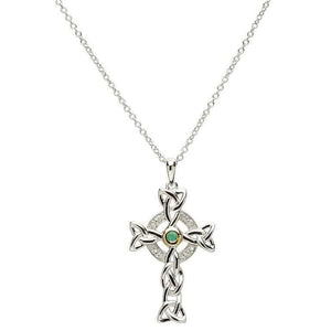 Celtic Trinity Diamond & Emerald Silver Cross Necklace