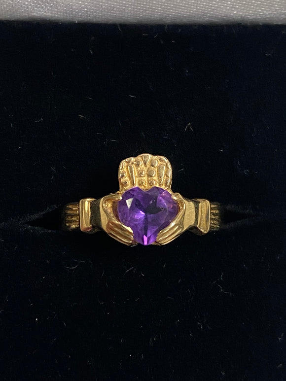 10K Gold Claddagh Ring with February Birthstone