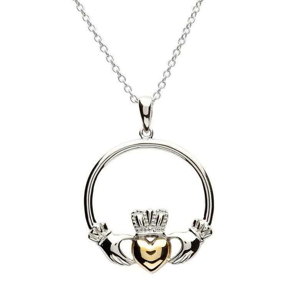 Claddagh Sterling Silver Gold Plate Heart Necklace