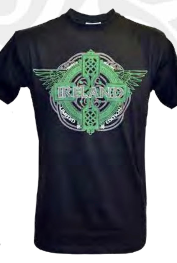 Black Ireland wings Celtic Cross Shirt T1306