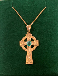 10K GOLD CELTIC CROSS WITH REAL EMERALD