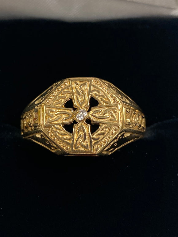 Heavy Gold Celtic Ring with Real Diamond