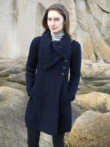 THE BURREN CHUNKY COLLAR COAT X4416 (Navy and Light-Grey)