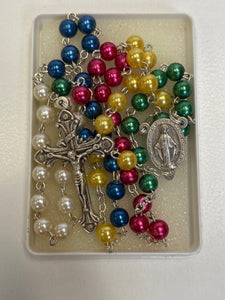 Child's Multi color beads miraculous medal rosary