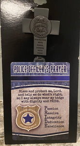 Police visor clip with prayer card