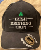 Irish drinking cap,  black With bottle cap opener