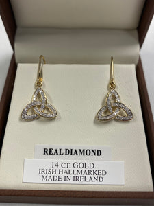 14k Trinity Knot Real Diamond Earrings