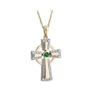 10K GOLD DIAMOND & EMERALD CROSS PENDANT