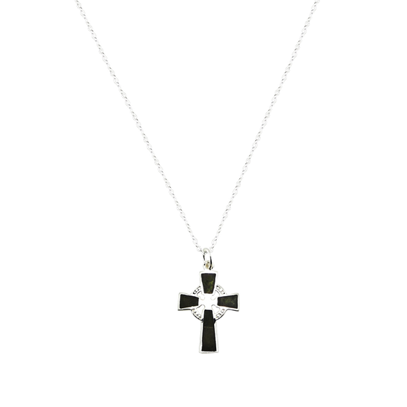 Silver Medium Celtic Cross Pendant with Connemara Marble