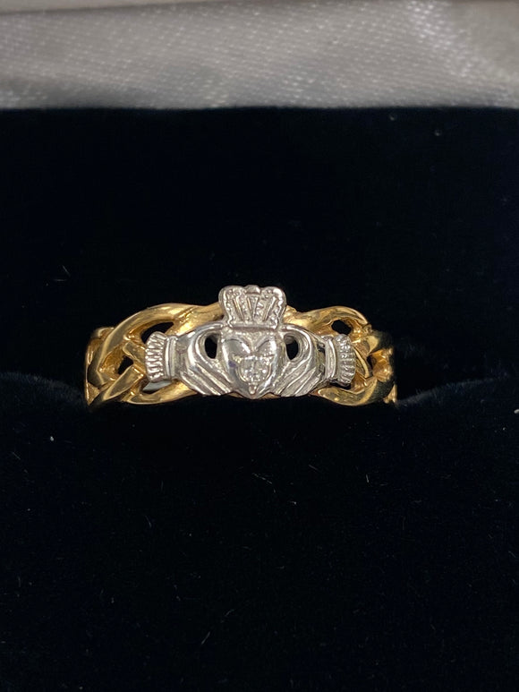 14K Yellow and White Gold Ring with Celtic Weave