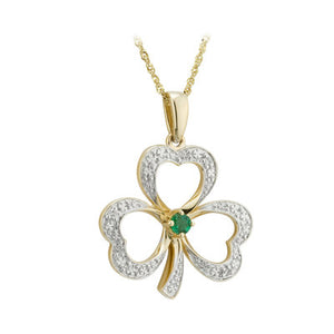 14K DIAMOND & EMERALD SHAMROCK NECKLACE