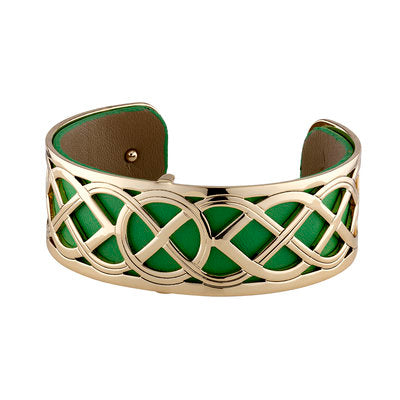 GOLD PLATED LEATHER CELTIC KNOT CUFF BANGLE(BOXED) Code: S50097