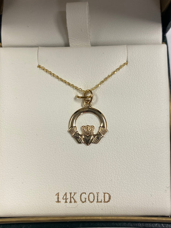 14K Gold small Claddagh Pendant