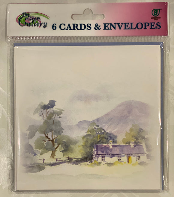 Mountain cottage Blank cards set of 6