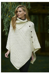 Cowl neck poncho with buttons CW4784