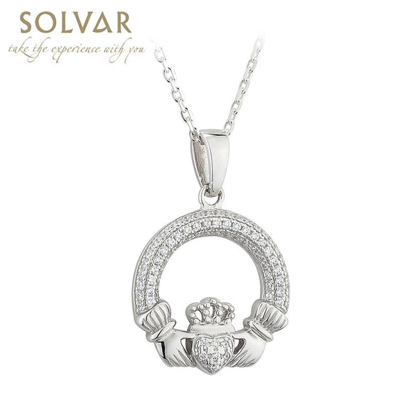 Silver Claddagh Pendant with Encrusted Crystals