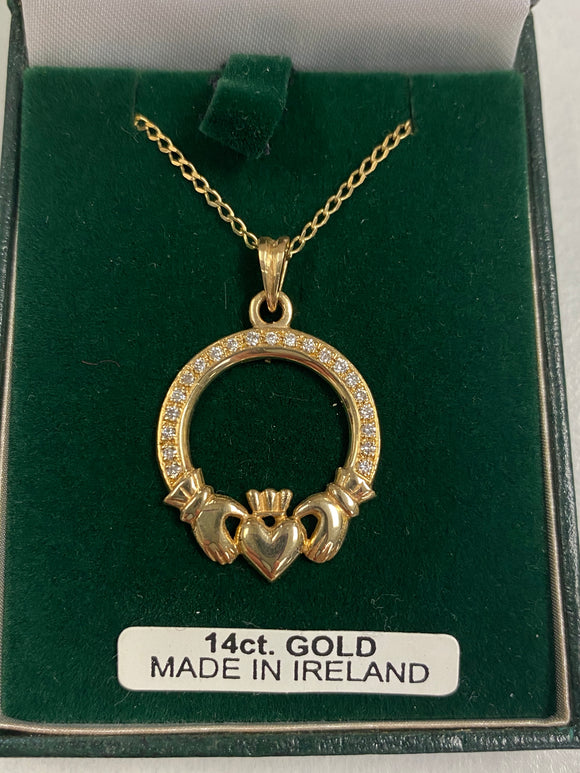 14K Gold Claddagh Pendant with Real Diamonds