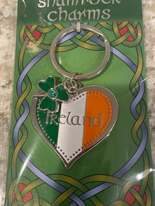 Tri color heart keychain