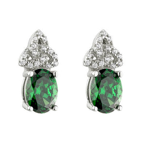 SILVER GREEN CUBIC ZIRCONIA TRINITY KNOT STUD EARRINGS S33963