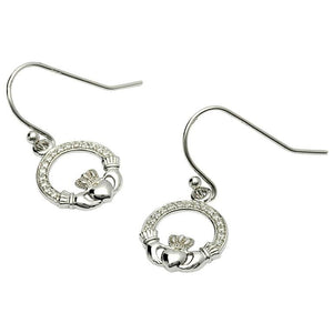 Claddagh Stone Set Silver Earrings