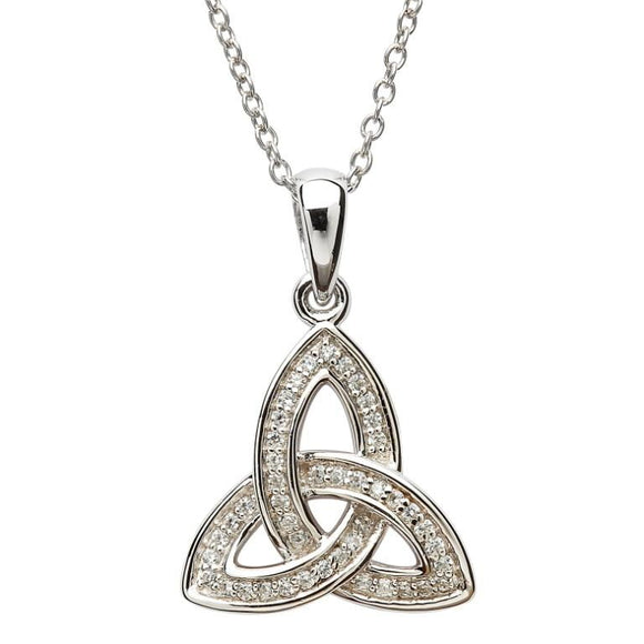 Silver Stone Set Celtic Trinity Knot Necklace