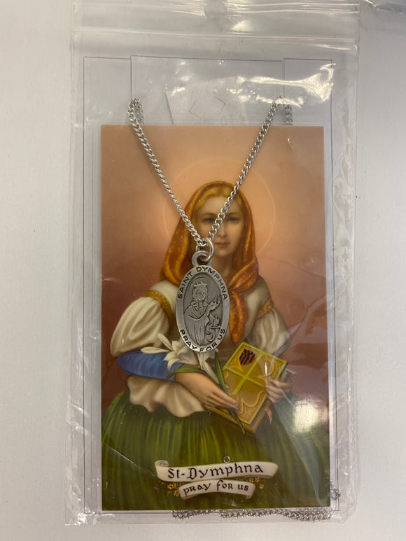 St. Dympha medal with prayer card