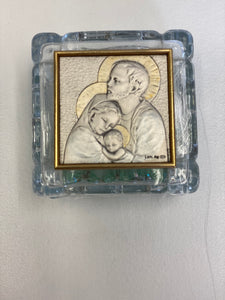 Holy family crystal rosary box with rosary