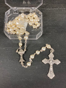 First communion Rosary with clear keepsake box