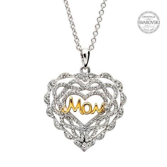 Heart Mom Necklace Encrusted With White Swarvoski Crystals by Shanore