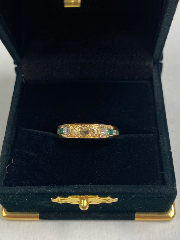 14K Gold Ring with Claddagh and Real Diamond and Emerald