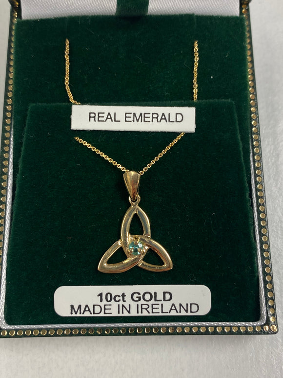 10K Gold Trinity Pendant with Real Emerald