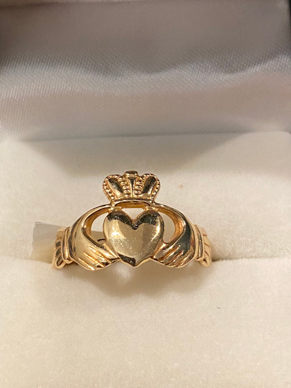 Facet 14k claddagh ring high crown 222