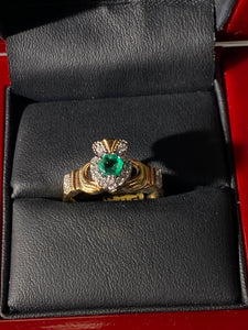 14k gold diamond emerald 7595X
