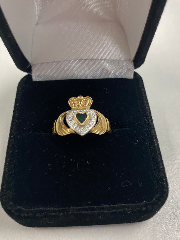 Gold Claddagh Pendant with Synthetic Emerald