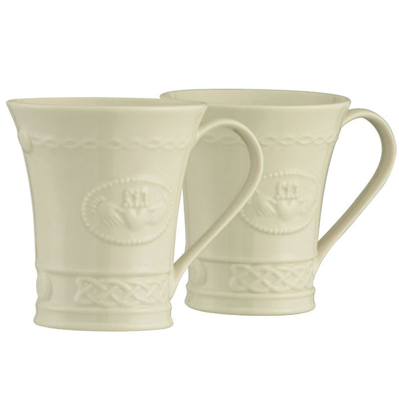 Belleek Classic Claddagh 10 oz. mug pair