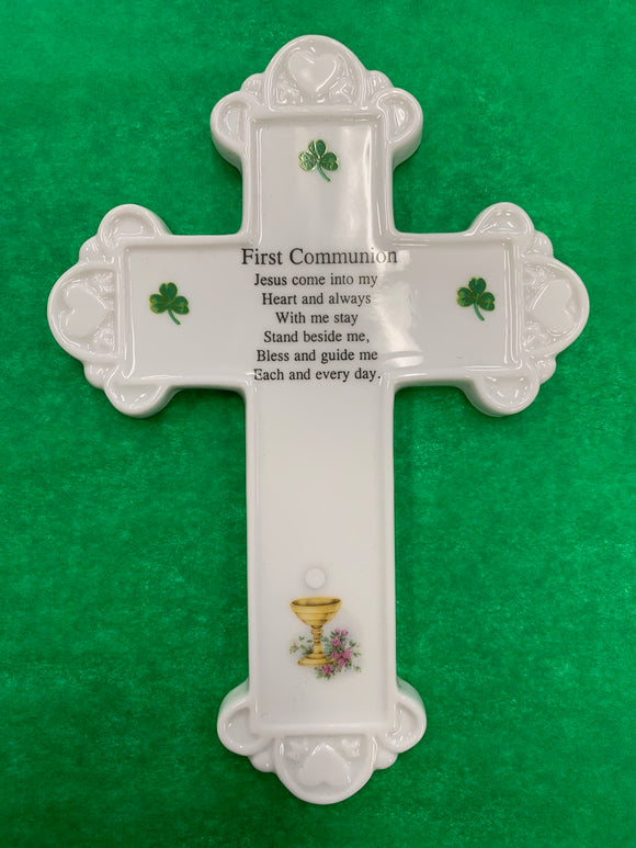 First Communion Wall Cross - Ceramic
