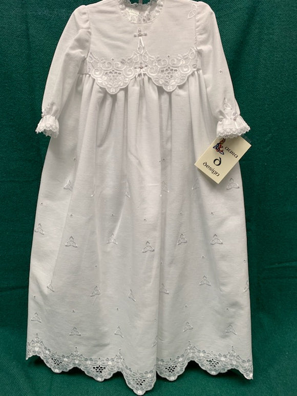 Girls Christening Gown with Cross Ribbon and Stitched Trinity