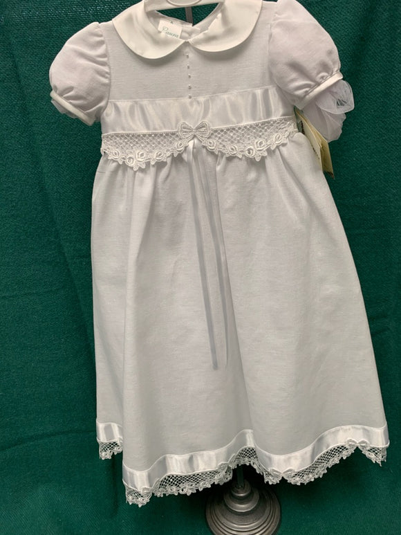 Girls Christening Gown with Stitched Bow