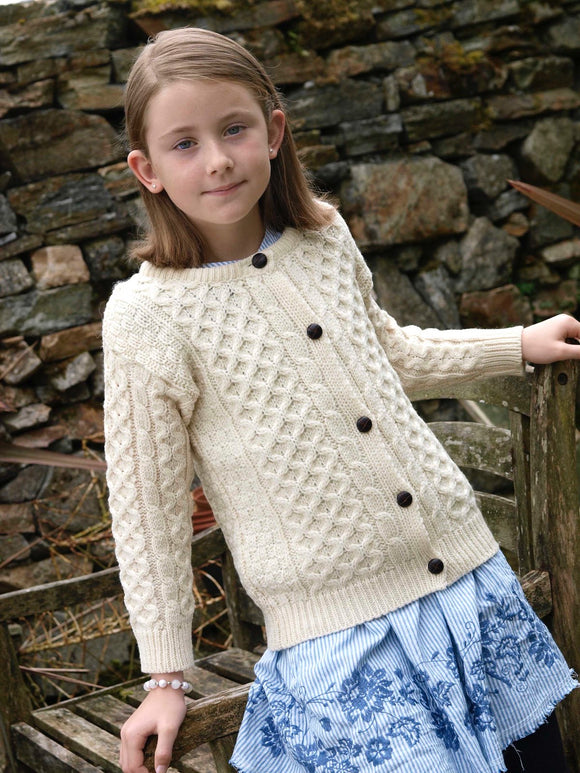 Aran Crafts Merino Wool Traditional Lumber Cardigan - Girls