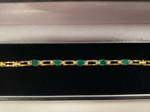 Gold Bracelet with Real Diamonds and Emeralds