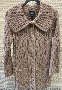 Long Oatmeal Cardigan with Buttons down Front
