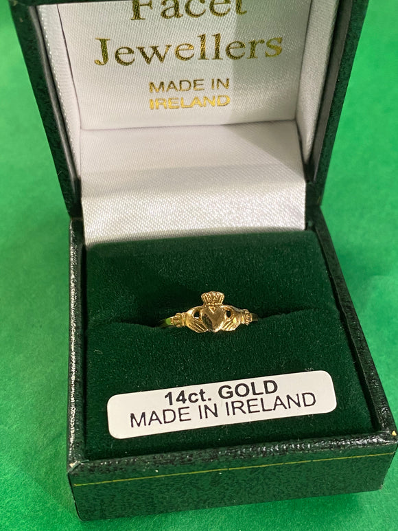 Facet 14k child's claddagh ring 226