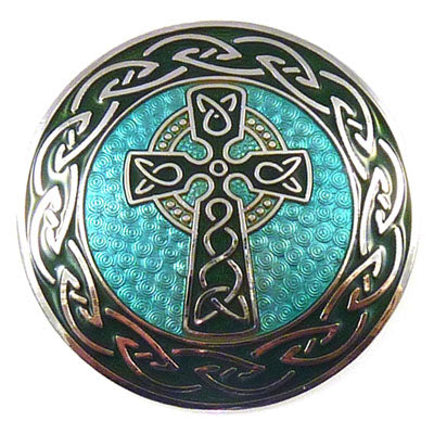 Enamel Celtic Cross Brooch w/ Green Enamel and Silver