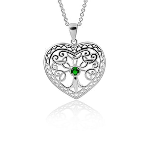 Silver Heart Tree of Life Pendant with Green Crystal