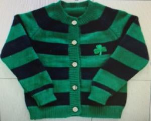 Blue and Green Striped Cardigan