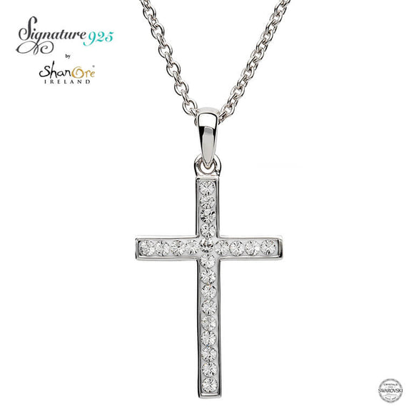 Sterling Silver Cross Adorned With Swarovski Crystals ST31